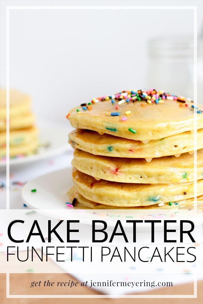 Cake Batter Funfetti Pancakes   JenniferMeyering.com