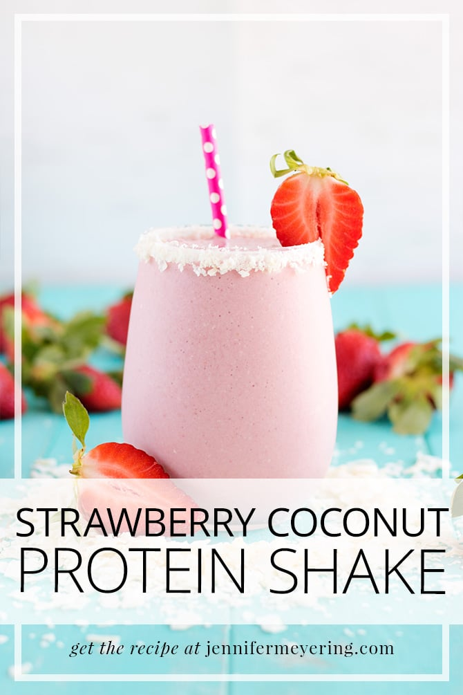 Strawberry Coconut Protein Shake - JenniferMeyering.com