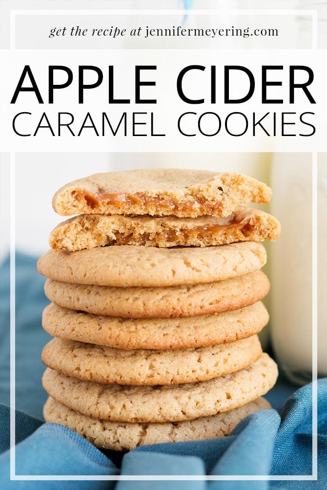 Apple Cider Caramel Cookies - JenniferMeyering.com