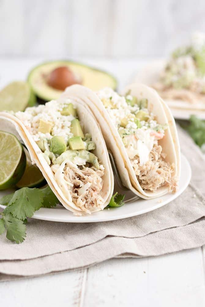 Pulled Pork Tacos w/Avocado Cream