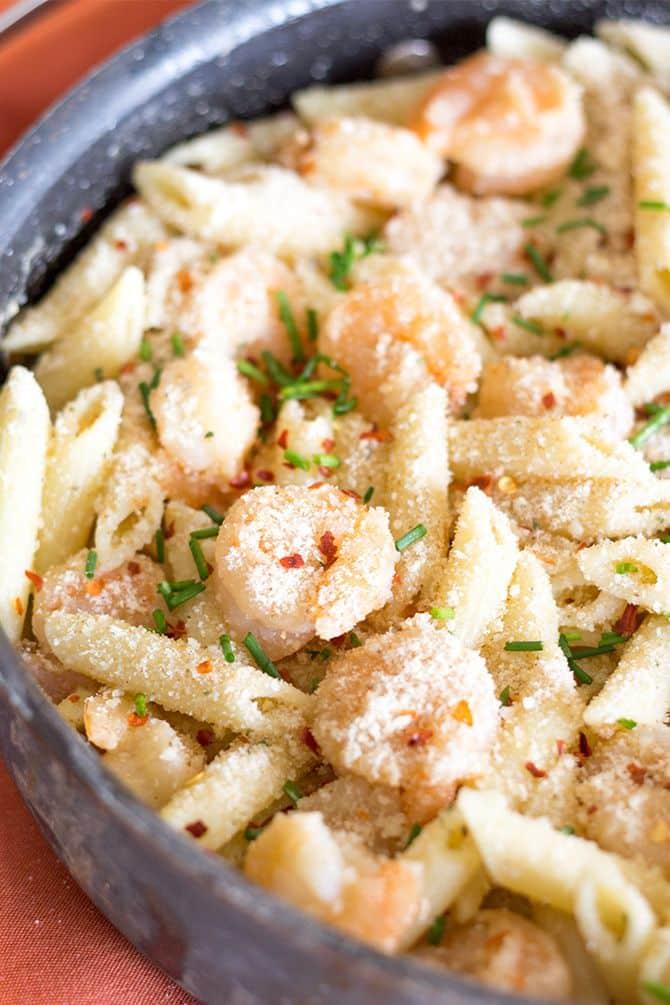 Spicy Shrimp Parmesan Pasta