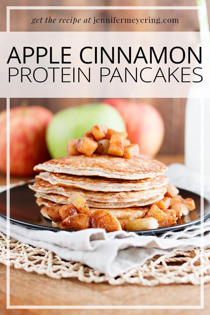 Apple Cinnamon Protein Pancakes - JenniferMeyering.com