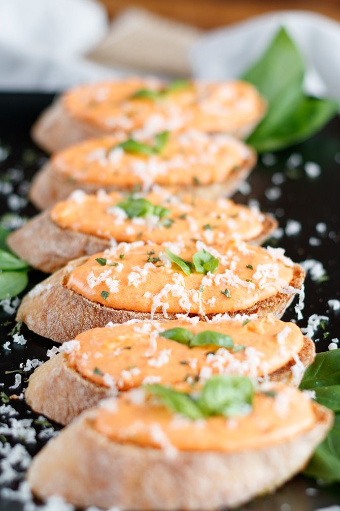 Roasted Red Pepper & Goat Cheese Crostini