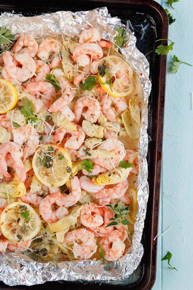 Shrimp Scampi in Foil